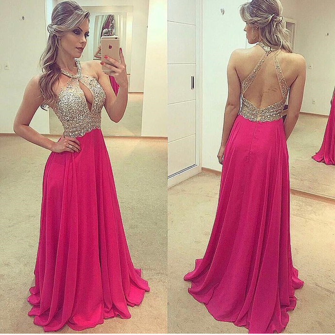 Sexy Chiffon Prom Dress, Backless Long Prom Dresses with Crystal, Sleeveless