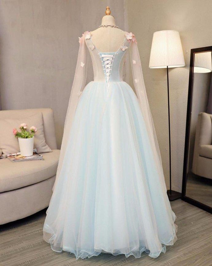 Sky blue tulle ,long A-line prom dress, long V neck ,butterfly party dress,Party