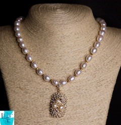 Pearly Gold Necklace and Earring set