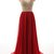 Red tulle round neck beading rhinestone see-through A-line princess long prom