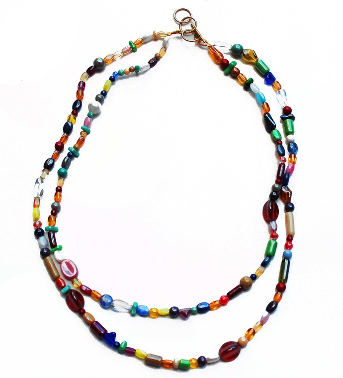 SOLD Two strand Beaded Necklace features multi shape, multi color beads, Boho