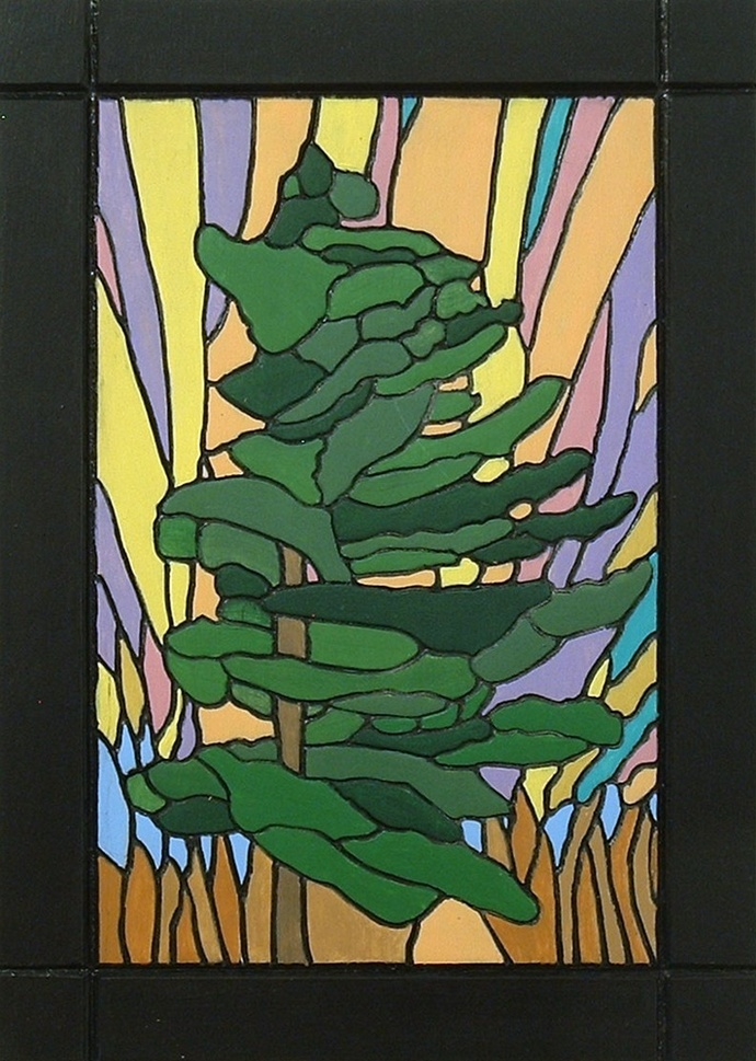 Abstract Pine Tree, Northern Lights, Wood Sculpture, Wood Wall Art