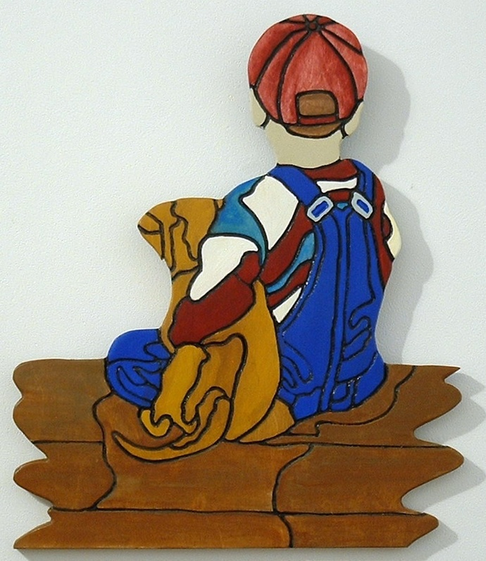 Boy & His Dog, Wood Sculptures Wall Art, This Wall Hanging Great for Home Decor.