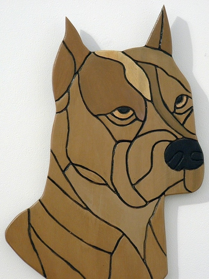 Wood Wall Art, Pit Bull, Pet Memorial, Dog Sculpture, Intarsia