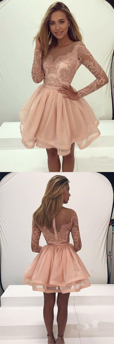 Long Sleeve Lace Homecoming Dress Tulle Zipper Back Party Dress