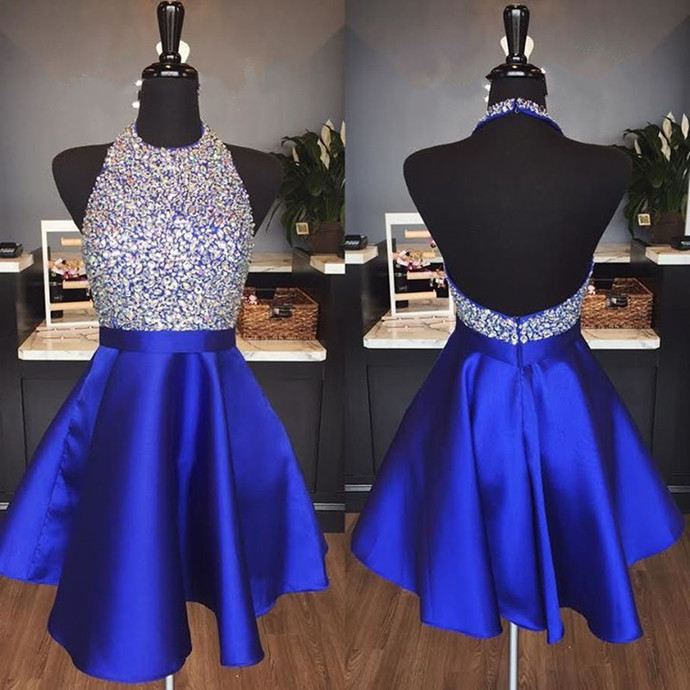 halter homecoming dress,beaded prom gowns,short prom dress 2018.royal blue