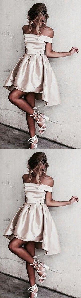 Glossy A-line Homecoming Dresses Off-the-Shoulder Hi-Lo Graduation Dresses