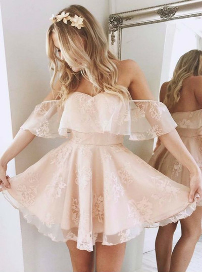 A-Line Off-the-Shoulder Short Pearl Pink Lace Homecoming Dress,Party