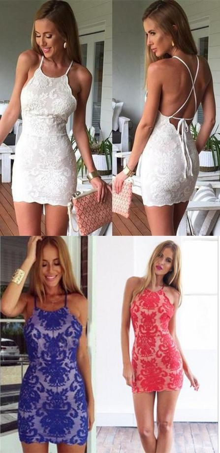 Sexy Sheath Mini Party Dresses,White Lace Short Homecoming Dress