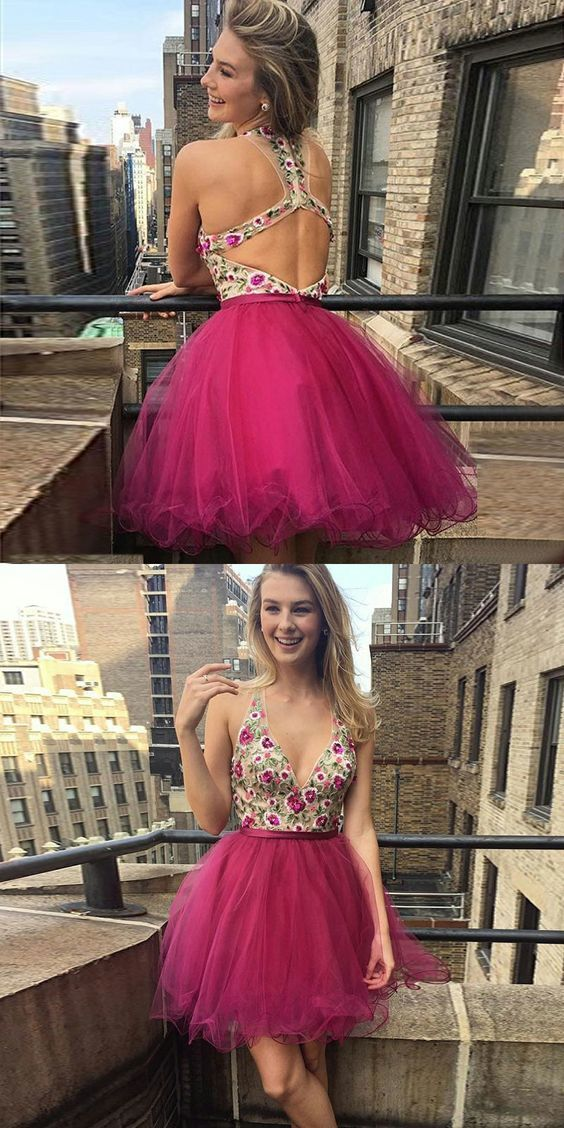 Modest fuchsia v neck short prom dresses, unique open back short party dresses