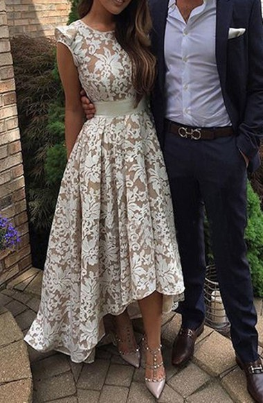 Pretty Jewel Cap Sleeves High Low Ivory Lace Prom Dress with Sash
