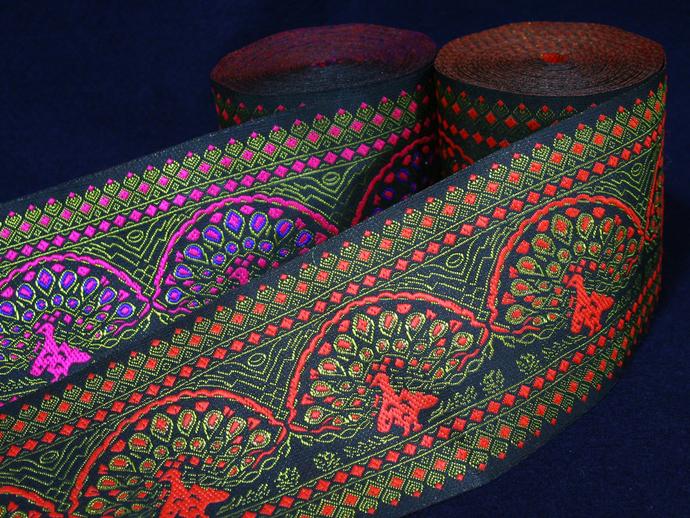 10 cm x 1 m • Orange/Pink Peacock Pattern Fabric Trim Ribbon