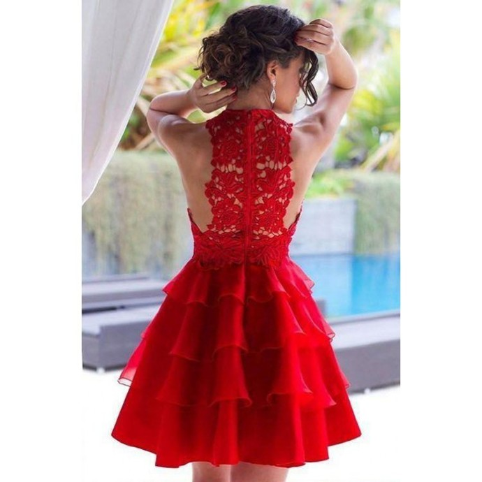 Red Lace Short Homecoming Dresses, Charming Red Short Party Dresses, Pretty