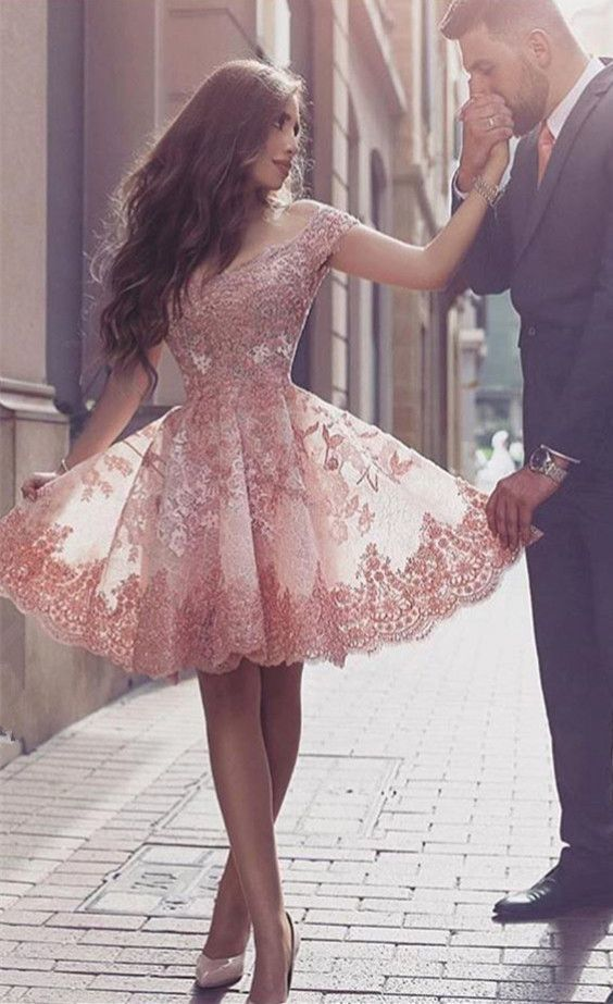 Gorgeous Short Sleeve Prom Dress,Short Dress,Lace 2017 Homecoming Dress Short