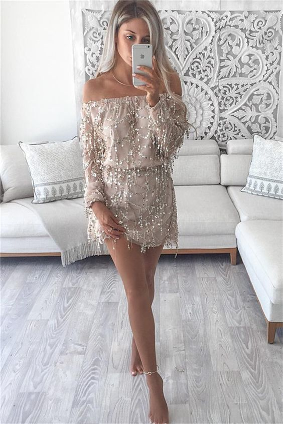 off the shoulder homecoming dresses, long sleeves sequins homecoming dresses,