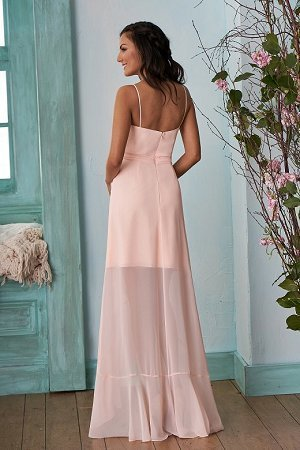 Pink Chiffon V-Neck Bridesmaid Dress, High-Low Backless Mermaid Bridesmaid Dress