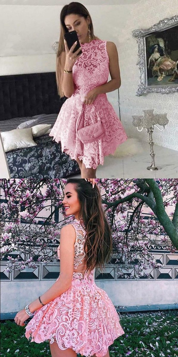 Lace Homecoming Dresses, Princess Homecoming Dresses, Short Pink Homecoming