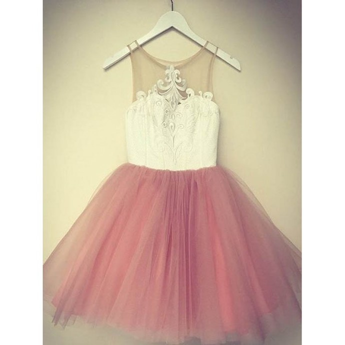 White and Blush Pink Short Homecoming Dress, Sweet Short Party Dresses