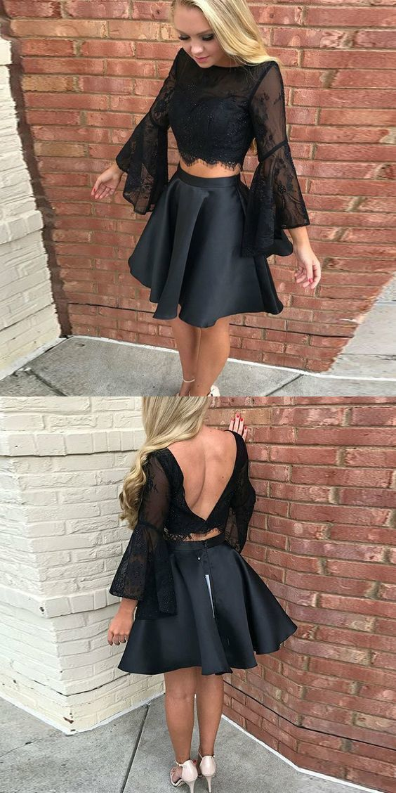 Two piece black short homecoming dresses, 2 piece bell sleeves short prom