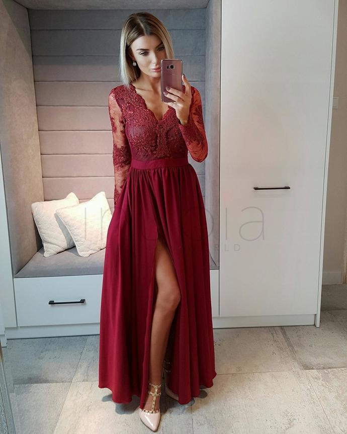 Long Sleeves Wine Red Prom Dress.Formal Occasion by DRESS on Zibbet