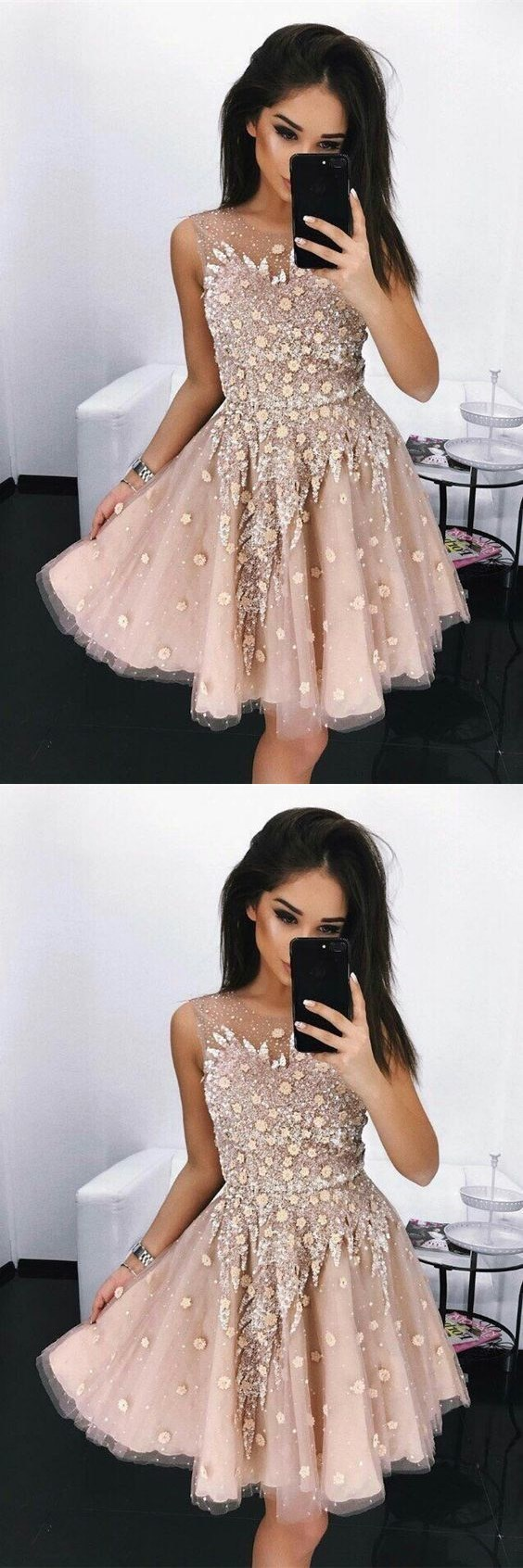 A-Line Round Neck Short Blush Prom Dress with Beading, modest beaded short