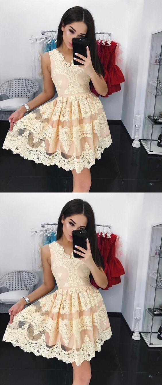 V neck Lace Short Homecoming Dresses, Sweet 16 Dresses, Short Party Dresses