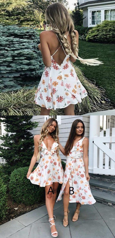 Spaghetti Straps A-Line Prom Dresses,White Floral Ruffles Dresses,Short
