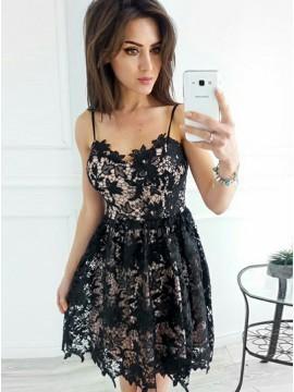 249670b0ddd Spaghetti Square Lace Black Short Formal Dress