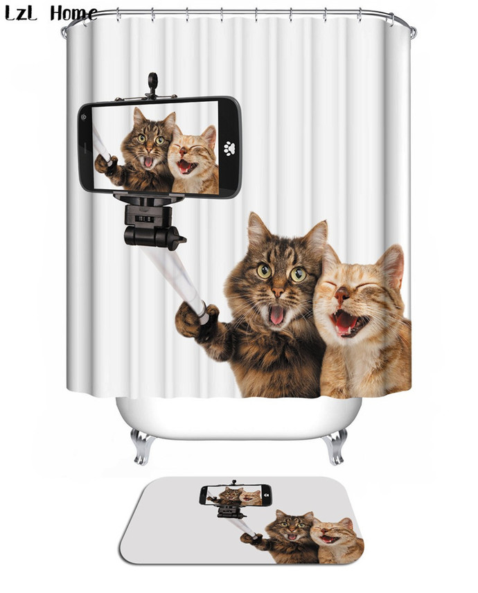 Animal Funny Cute Cat 02 Waterproof Fabric Shower Curtain Bath Mat For Decor