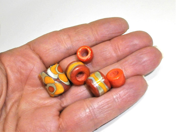Flower Power Hippie Focal Barrel Bead Set from my Lampwork Sari Silk Series