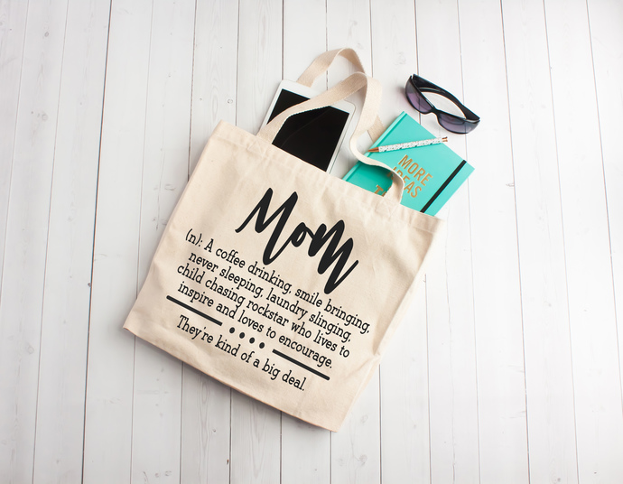 Mom definition, mothers day gifts, totes with zippers, jumbo tote bags, mom