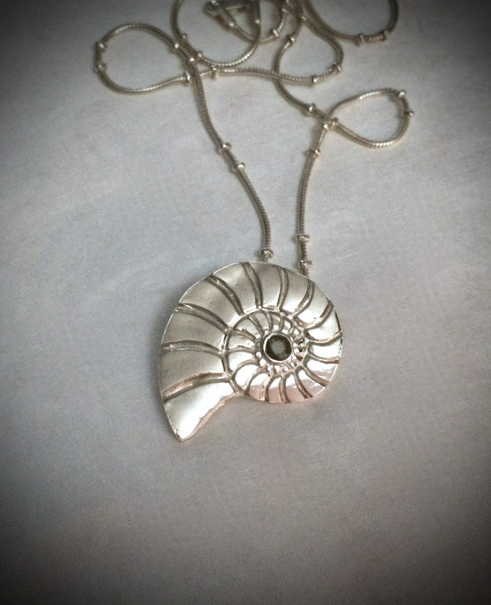 Nautilus shell, silver nautilus, beach necklace, surfer girl, silver necklace,