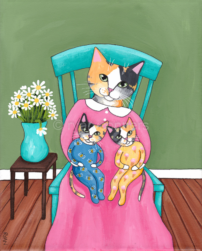 Calico Mom and Her Kittens Mother's Day Original Cat Folk Art Painting
