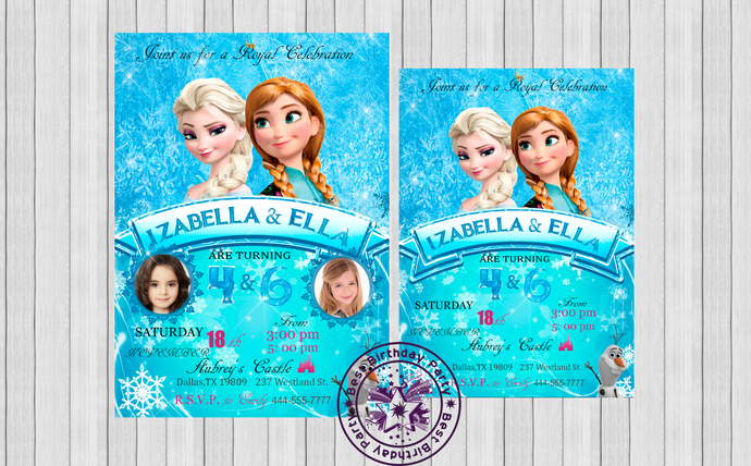 frozen sibling birthday invitations by bestbirthdayparty on zibbet