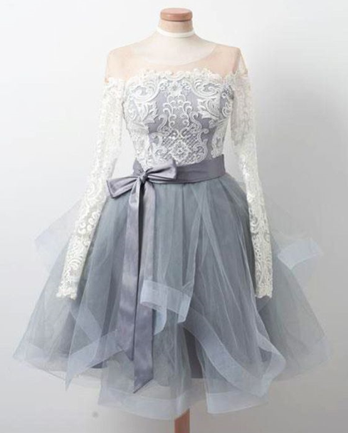 Cute Homecoming Dress,Tulle Prom Gown,Long-Sleeves Prom Dress,Lace short Prom