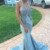 Sexy Mermaid Blue Halter Satin Backless Prom Dress