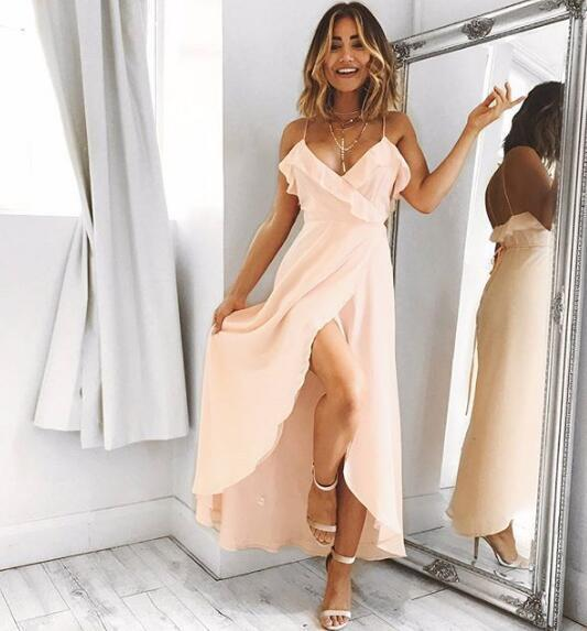 Pink Ruffles Prom Dress,Long Prom Dresses with Slit,Woman Evening Dresses