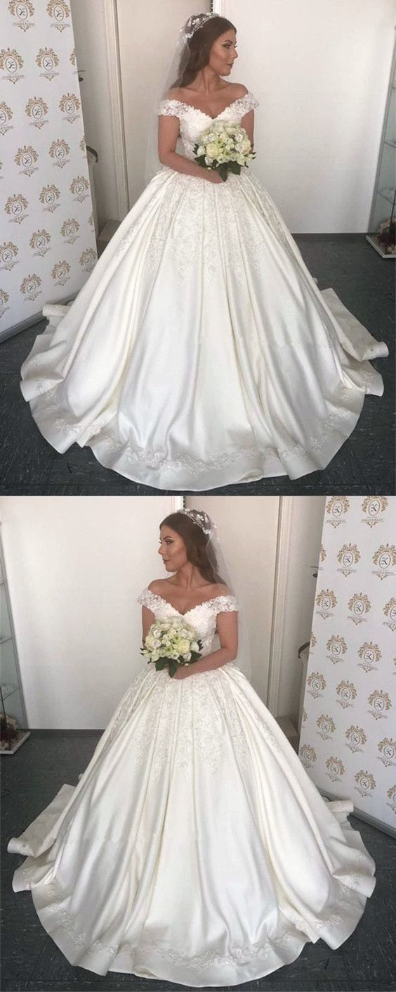 481bf502c0a Luxurious Lace Appliques V-neck Off The Shoulder Ball Gowns Wedding Dress