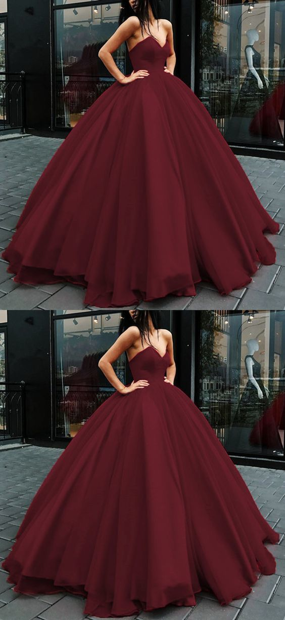 tulle ball gowns prom dresses burgundy by Miss Zhu Bridal on Zibbet