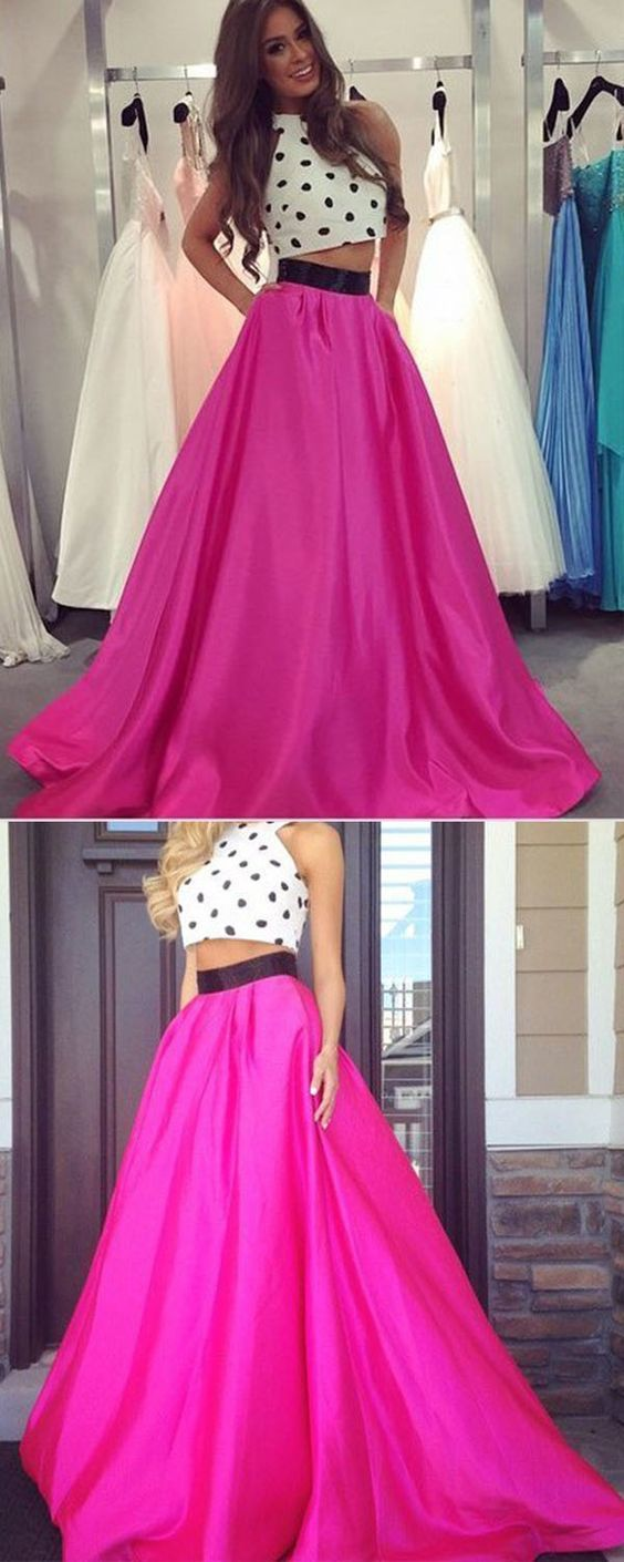 fe85785334439 Two Piece Prom Dress - Fuchsia A-Line Crew Neck Floor Length Sash,Two