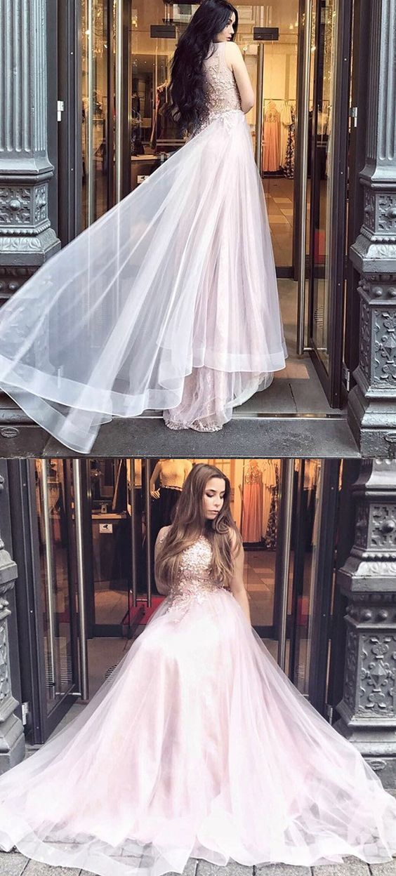 modest pearl pink long prom dresses, junior tulle long party dresses with