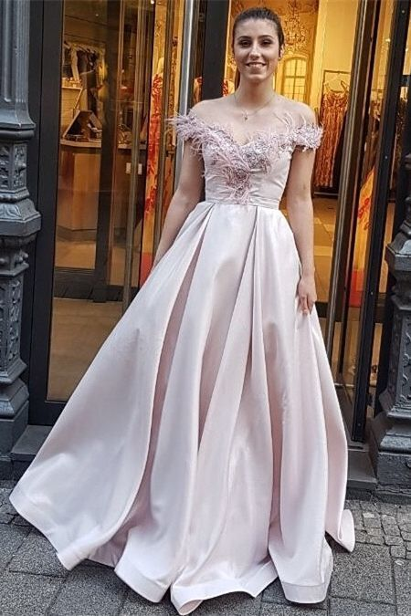 modest pink off the shoulder prom dresses, elegant evening gowns with feather,
