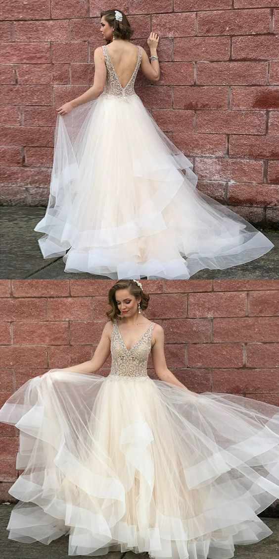 A-Line V-Neck Backless Light Champagne Prom Dress with Beading, unique light
