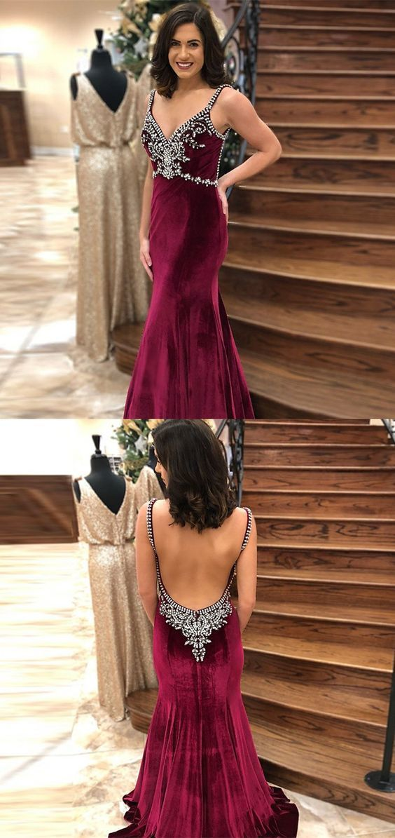 Mermaid Spaghetti Straps Backless Burgundy Prom Dress with Beading, modest