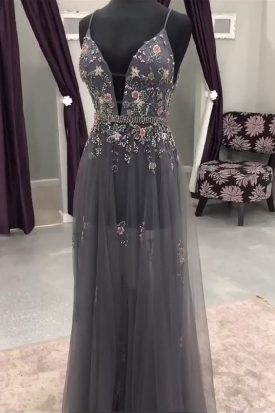modest grey long prom dresses with beading, unique deep v neck evening gowns,