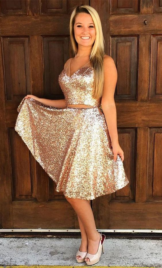 Two Piece V-Neck Knee-Length Gold Sequined Prom Dress, modest two piece gold