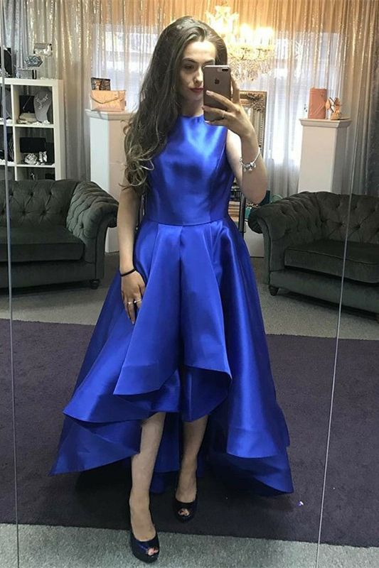 modest royal blue high low prom dresses, simple a line satin homecoming dresses,