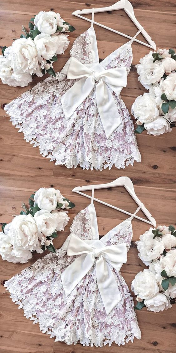 simple lace short homecoming dresses, cute pink short prom party dresses with