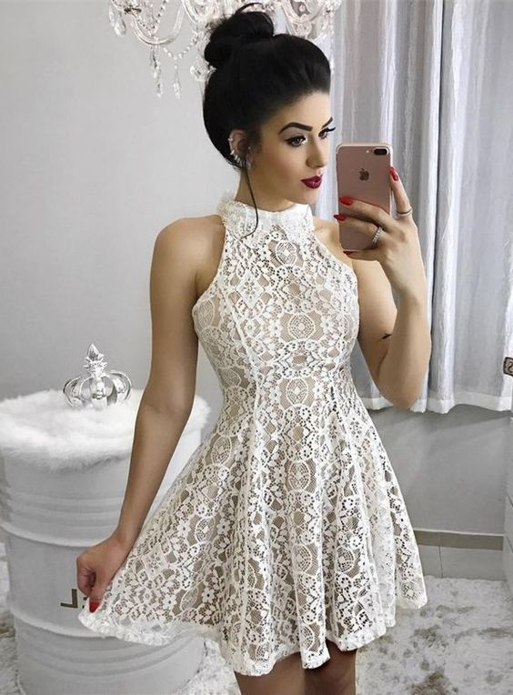 short homecoming dresses, ivory lace short prom dresses, fashion short party