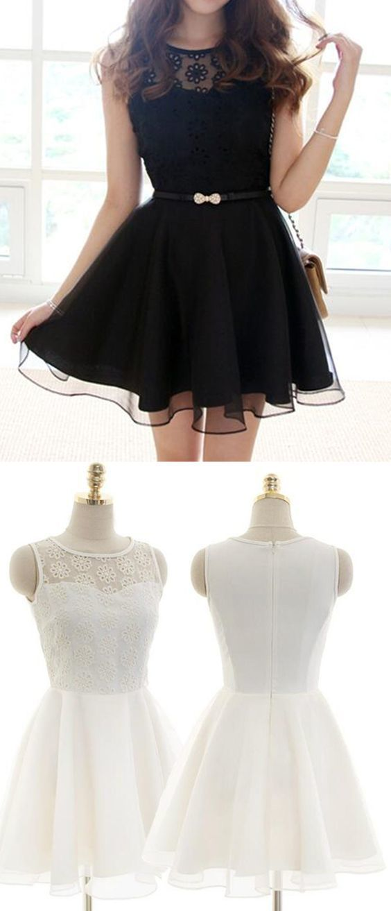 black short homecoming dresses, simple short prom dresses, white party formal